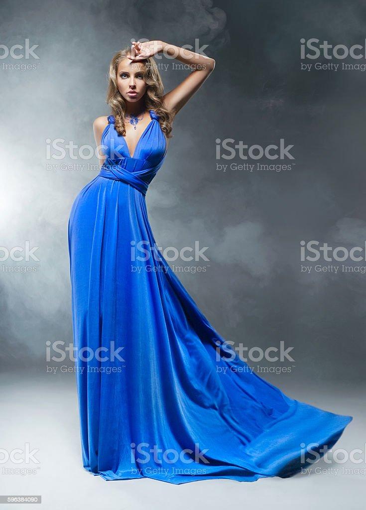 Beautiful woman with blue dress stock photo