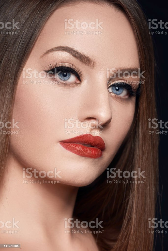 beautiful woman with blue eyes stock photo