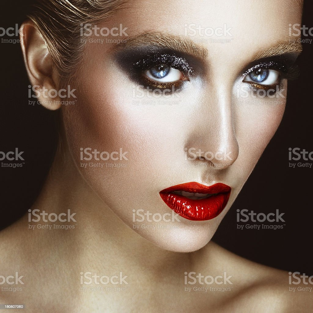Beautiful woman with bright make-up royalty-free stock photo
