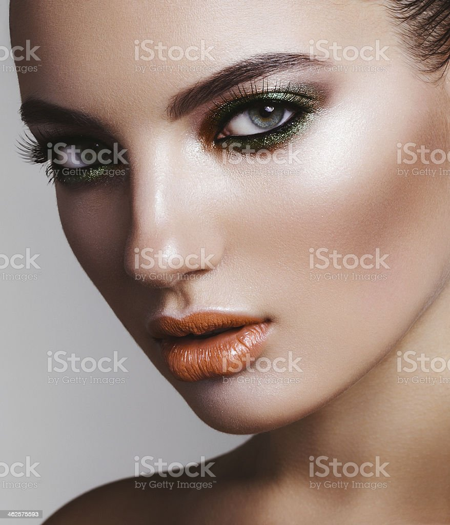 Beautiful woman with bright make-up stock photo