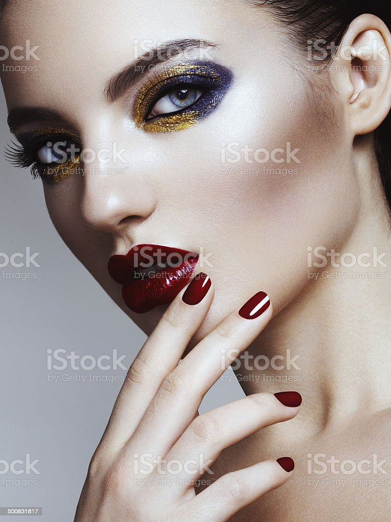 Beautiful woman with bright make-up stock photo
