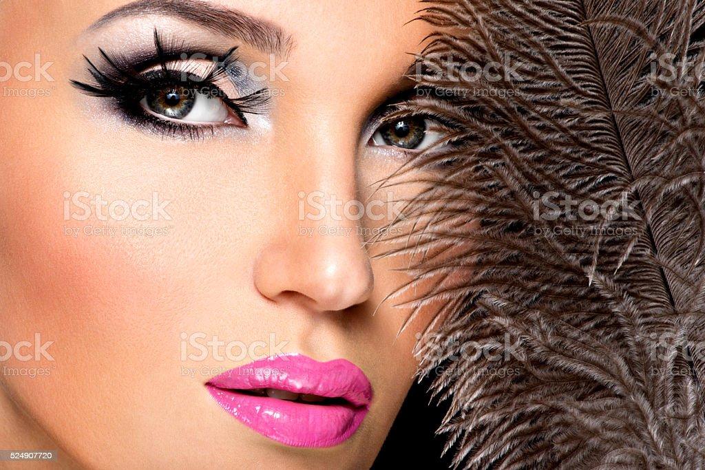 Beautiful woman with bright professional make-up stock photo