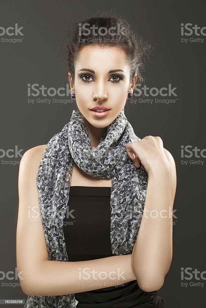 Beautiful woman with brown hair posing royalty-free stock photo