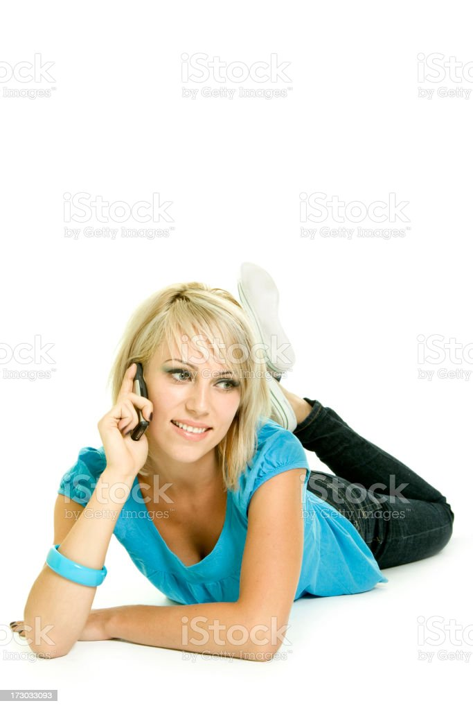 Beautiful woman with cellphone isolated on white royalty-free stock photo