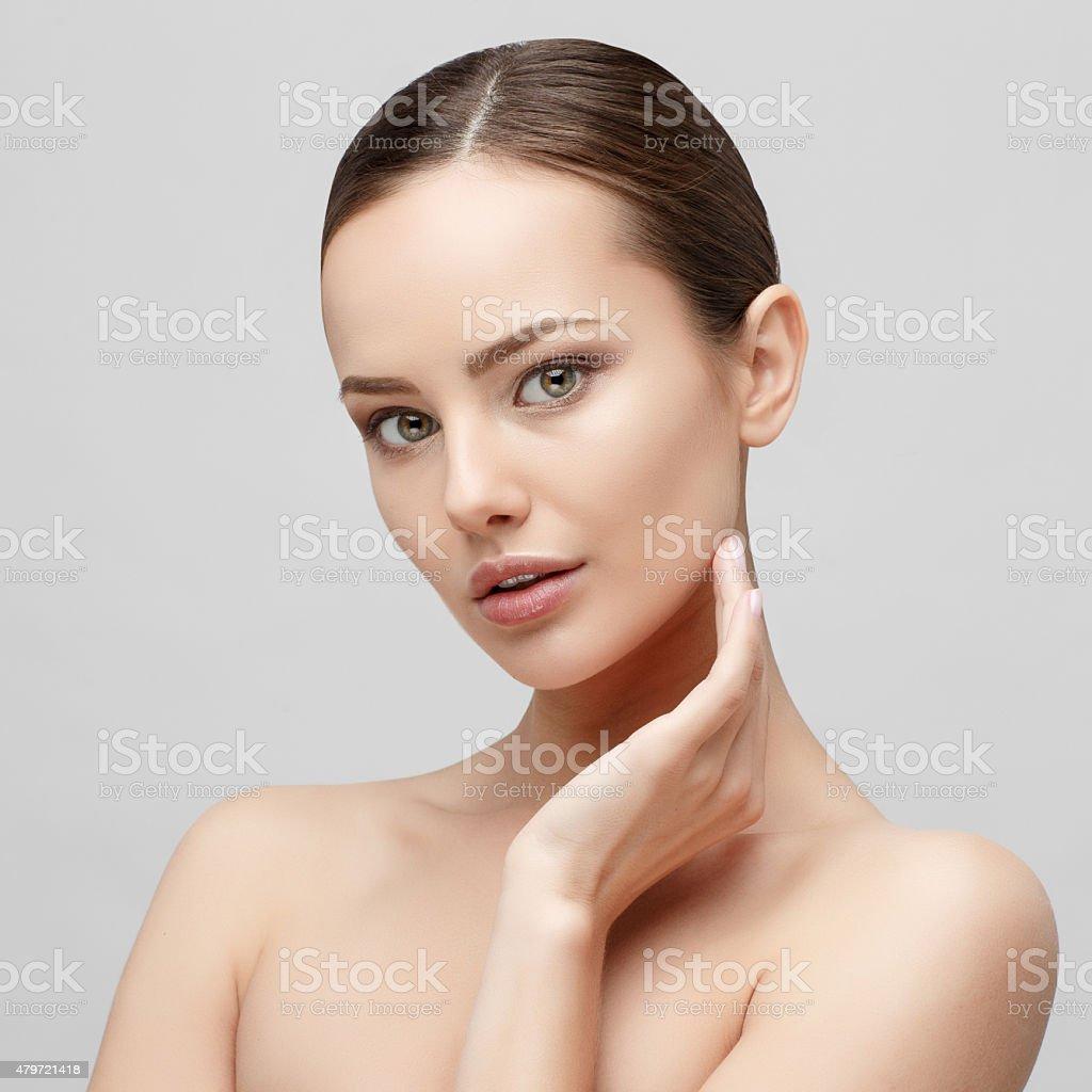 Beautiful Woman with Clean Fresh Skin stock photo