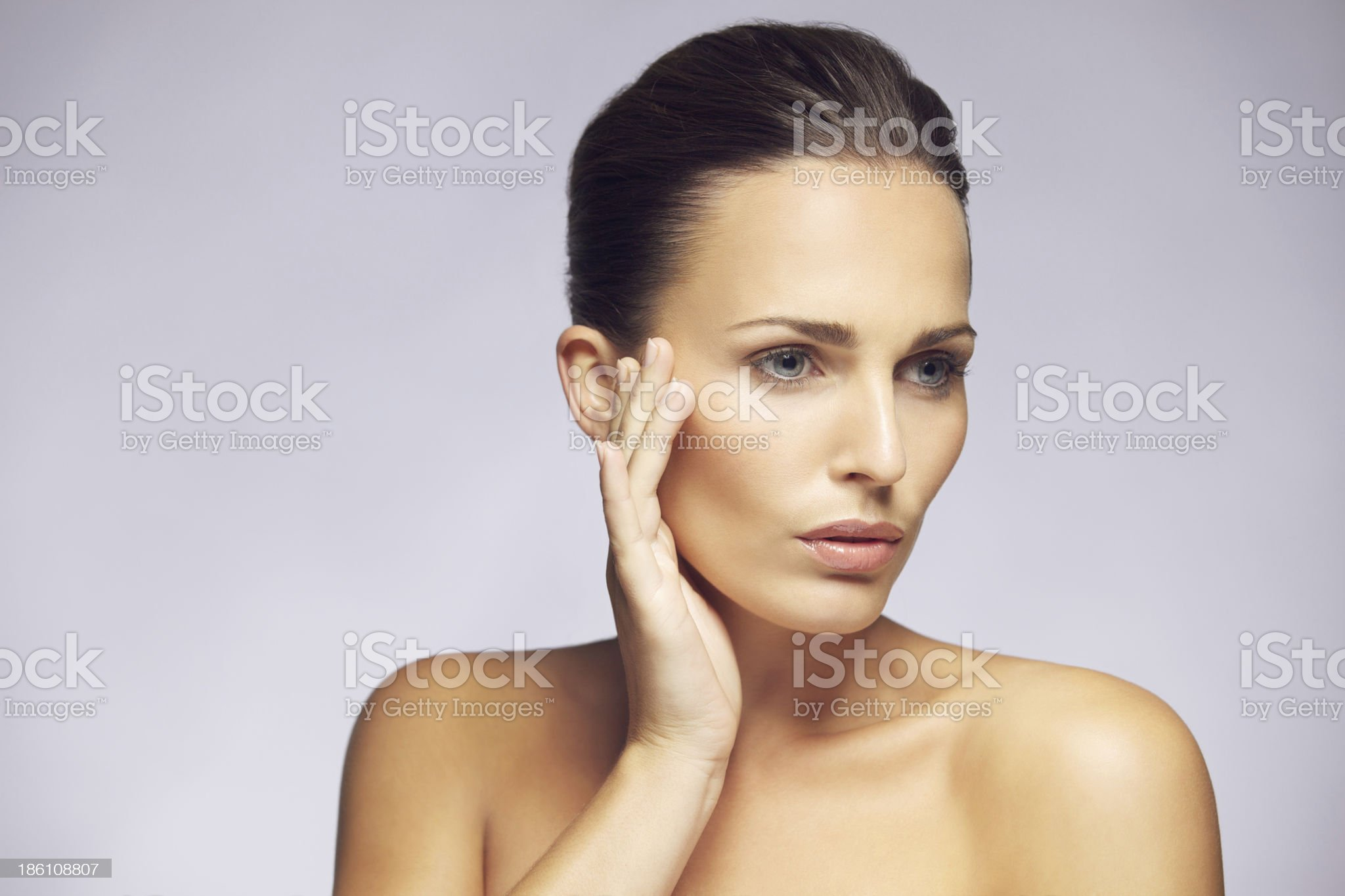 Beautiful woman with clean perfect skin royalty-free stock photo