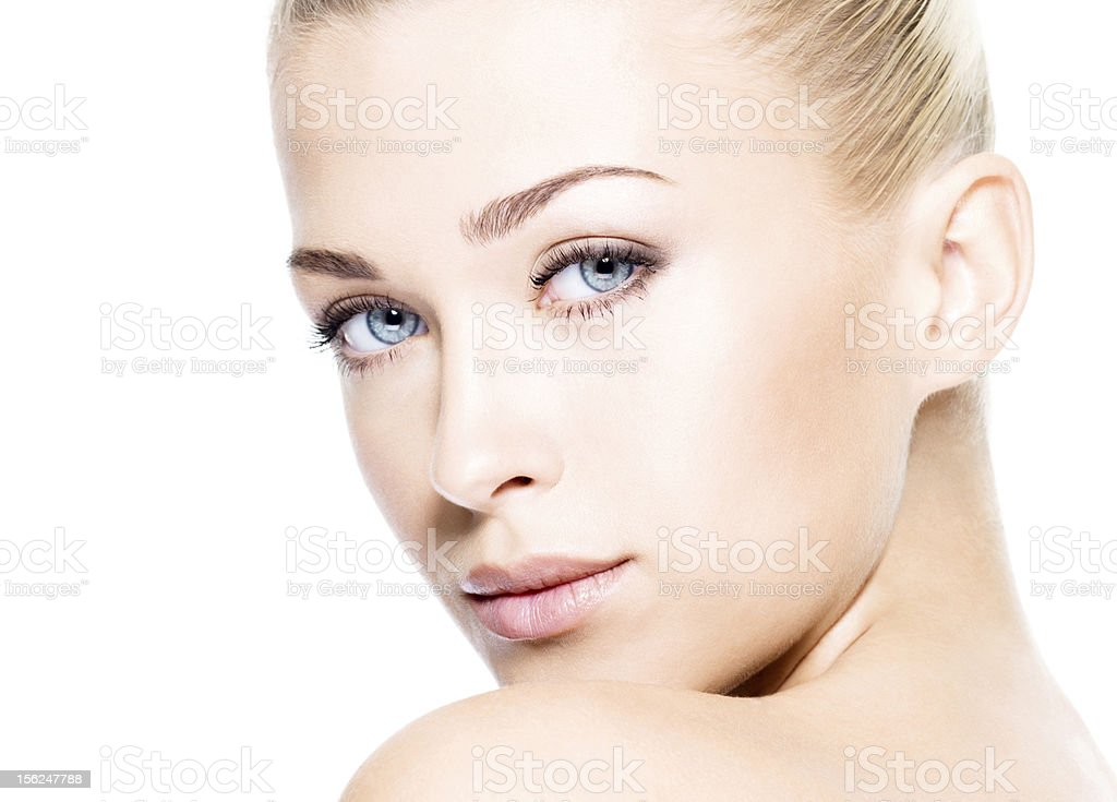 Beautiful woman with clean skin stock photo