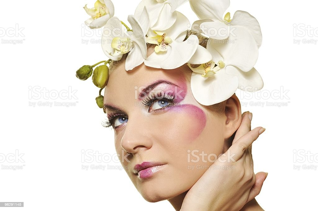 Beautiful woman with creative make-up royalty-free stock photo