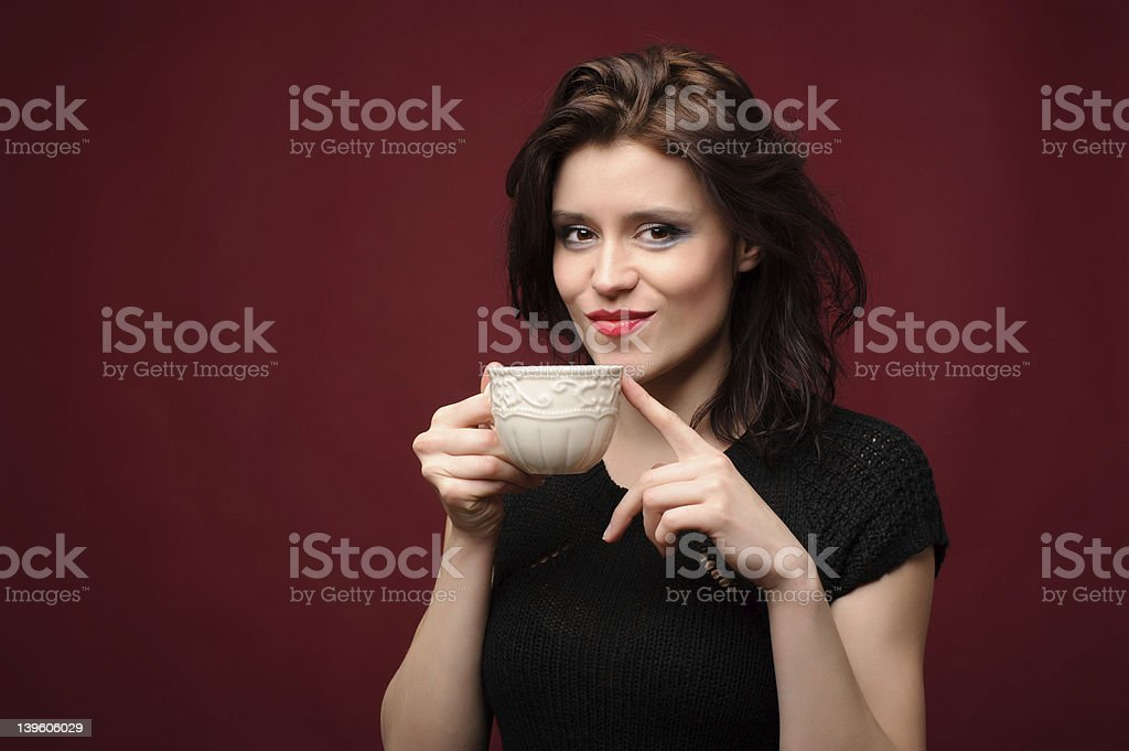 beautiful woman with cup of tea or coffee royalty-free stock photo