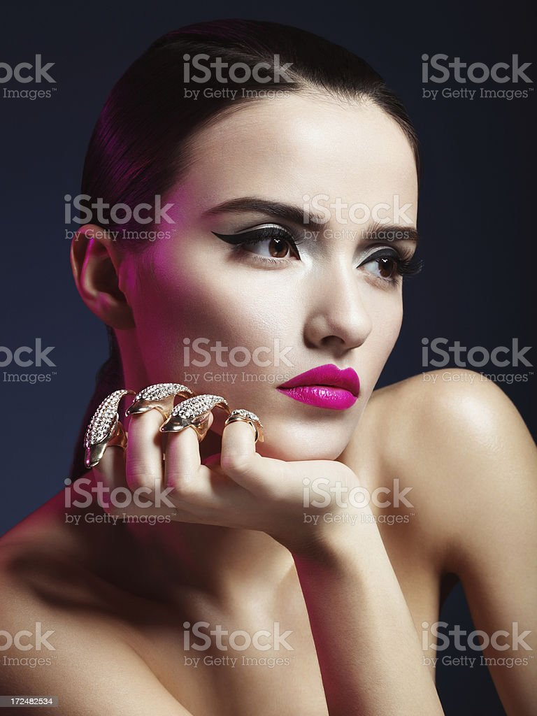 Beautiful woman with decorative claws royalty-free stock photo