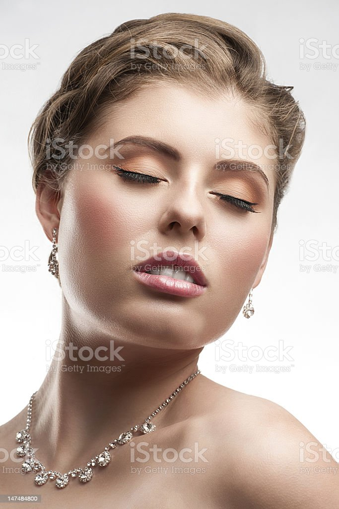 Beautiful woman with diamond necklace royalty-free stock photo