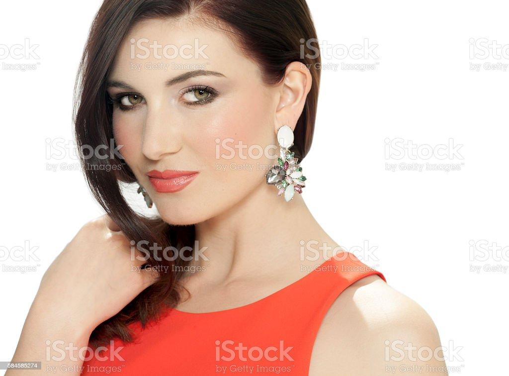Beautiful Woman With Earrings stock photo