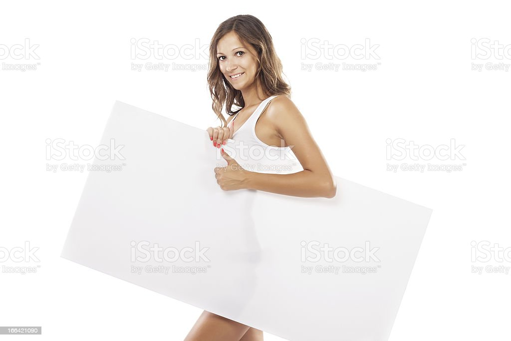 Beautiful woman with empty board royalty-free stock photo