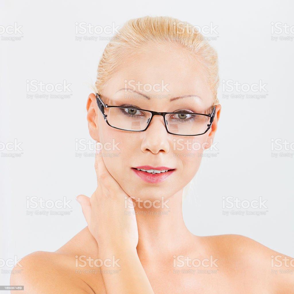 Beautiful woman with eyeglasses stock photo