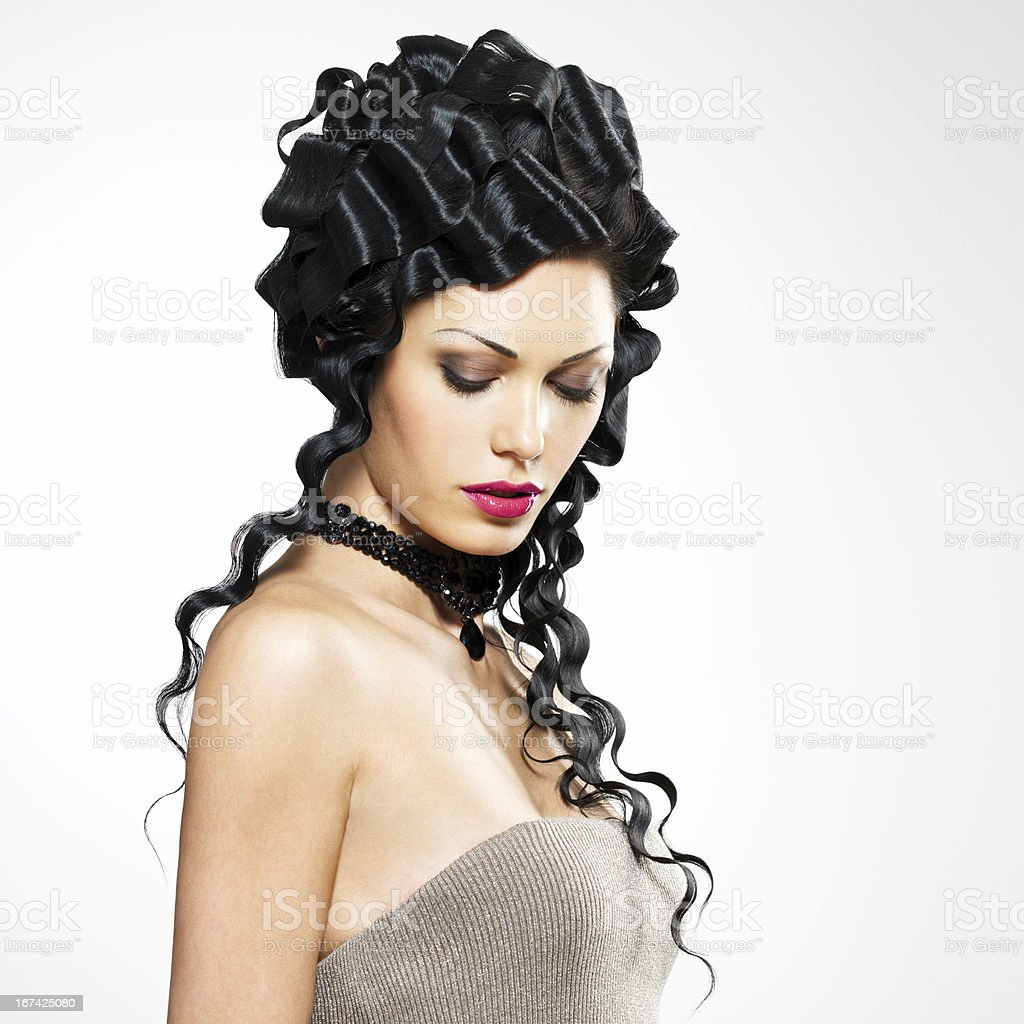 Beautiful woman with fashion hairstyle royalty-free stock photo