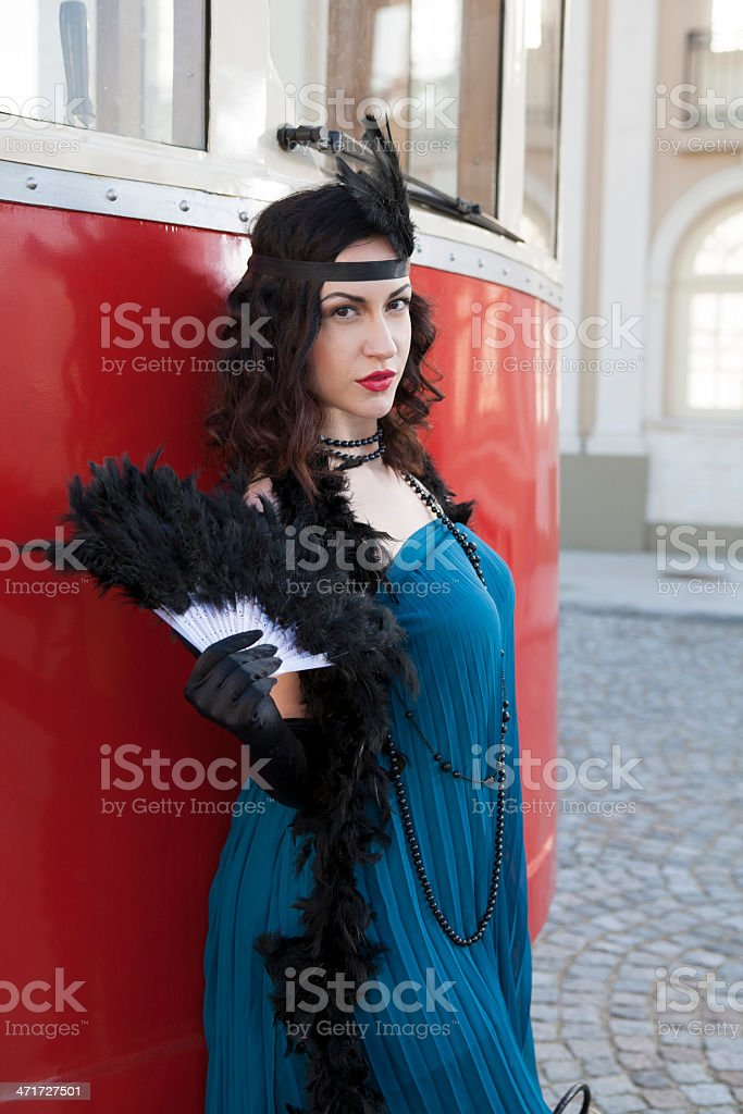 beautiful woman with feather dusters royalty-free stock photo