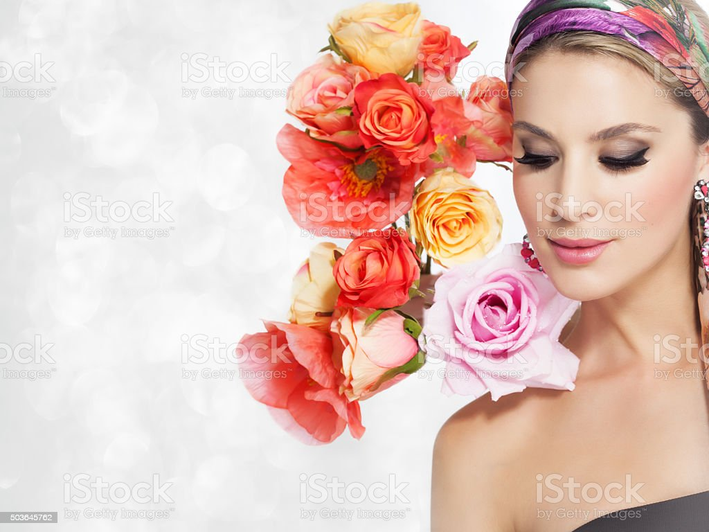 Beautiful woman with flowers stock photo 503645762 istock beautiful woman with flowers royalty free stock photo dhlflorist Gallery