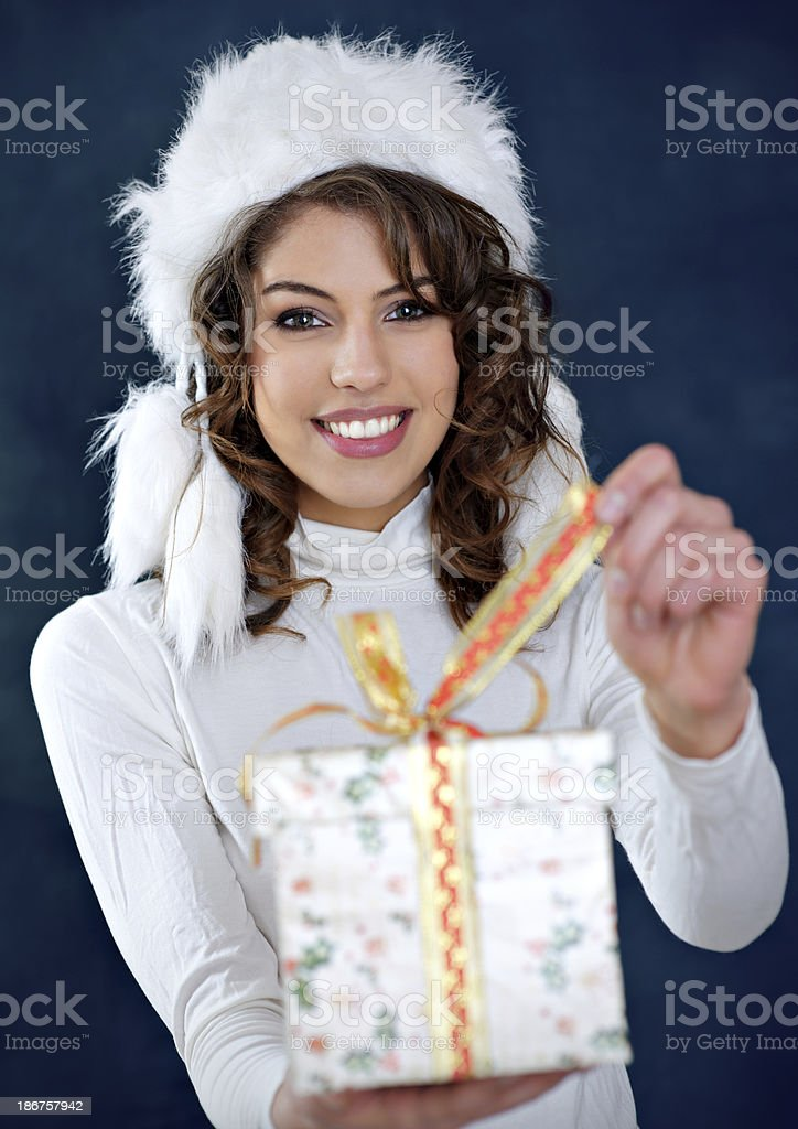Beautiful woman with fur hat royalty-free stock photo