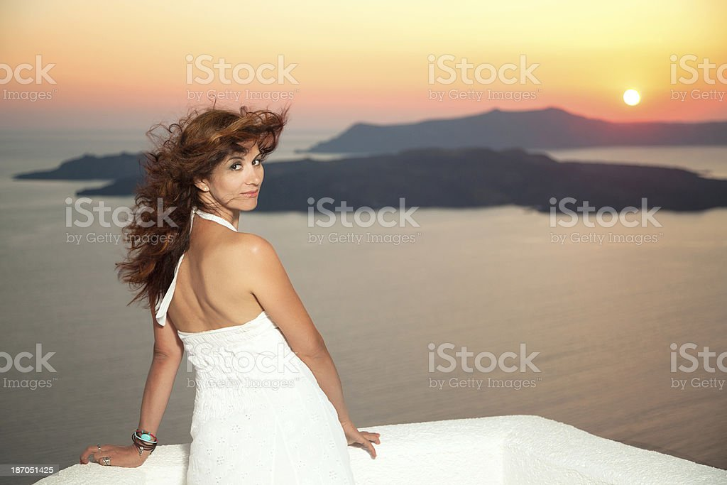 Beautiful woman with hair flying in wind stock photo