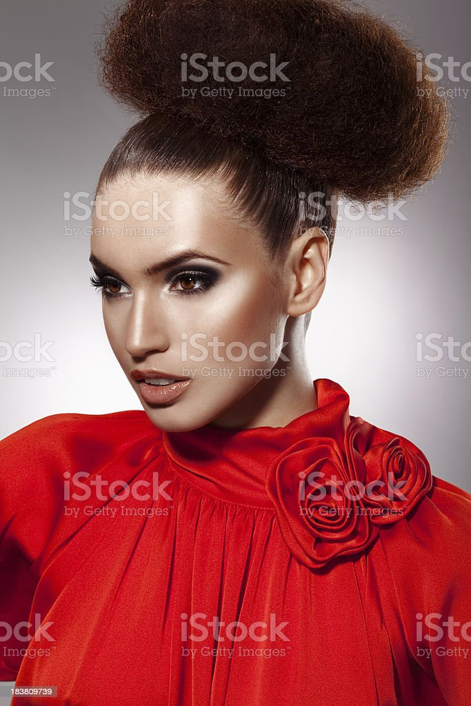 Beautiful woman with hairstyle and makeup royalty-free stock photo