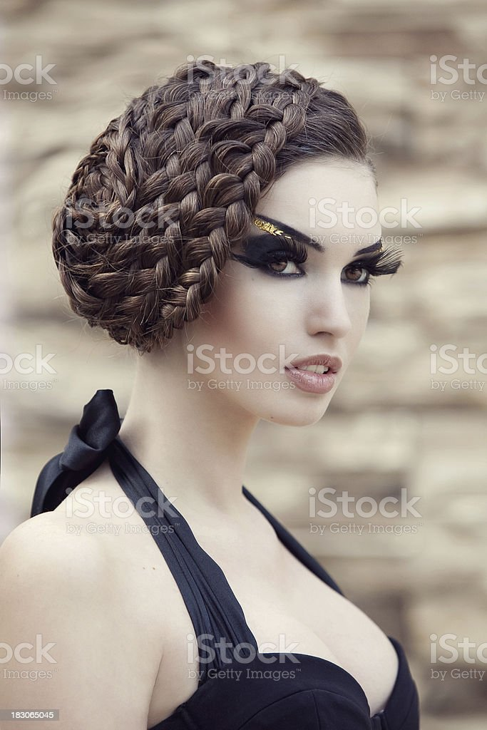 Beautiful woman with hairstyle royalty-free stock photo