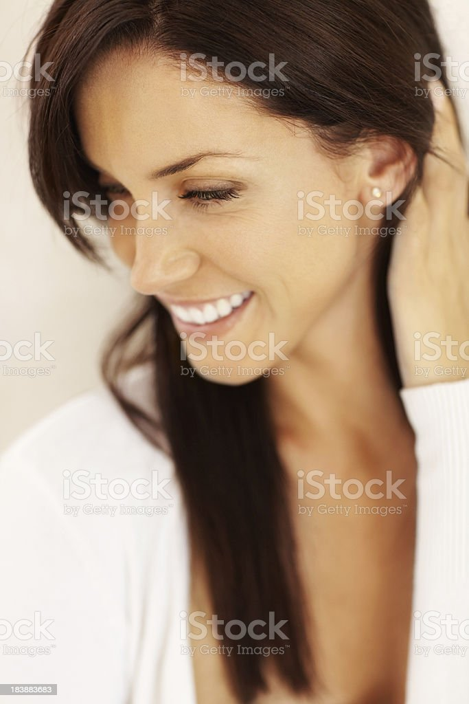 Beautiful woman with hand in hair royalty-free stock photo