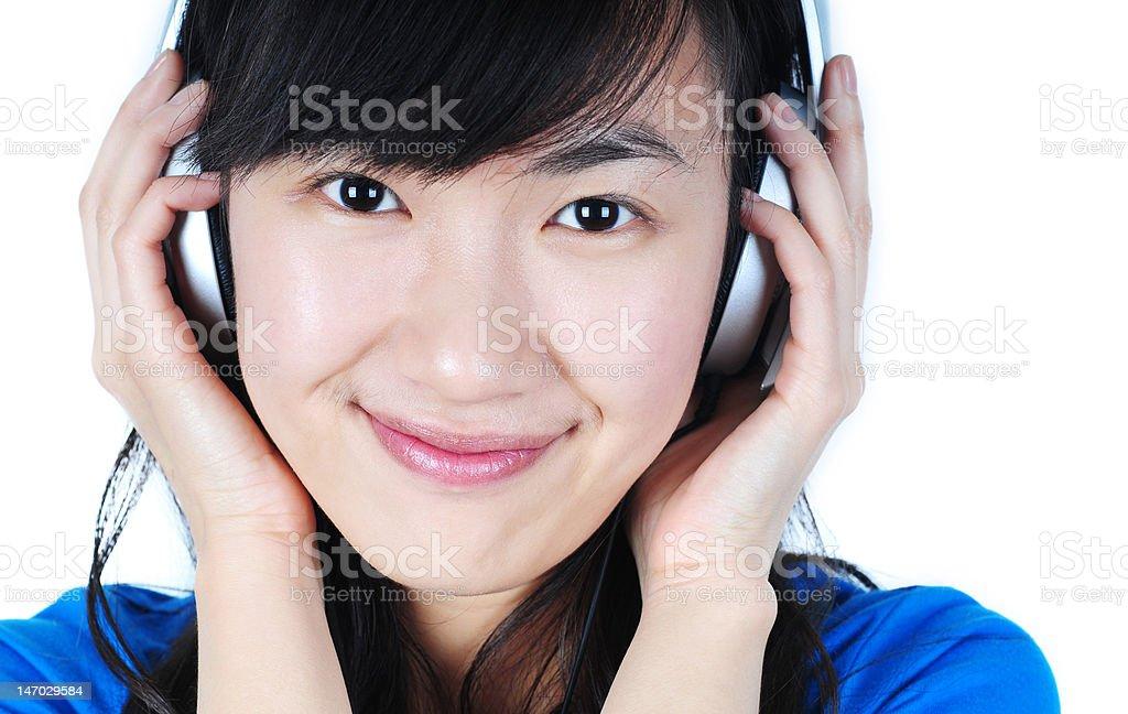 Beautiful Woman with Headphone royalty-free stock photo