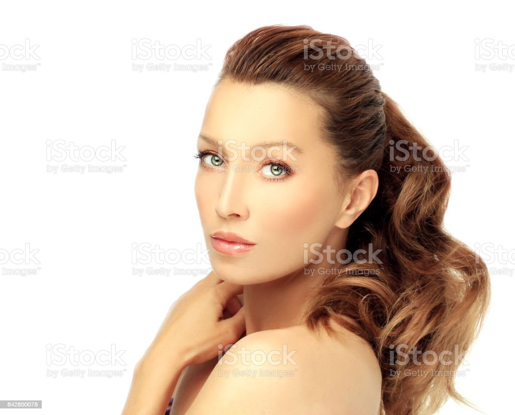 Beautiful woman with healthy clean skin. stock photo