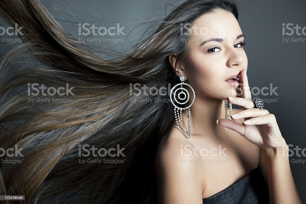 Beautiful woman with healthy long hair royalty-free stock photo