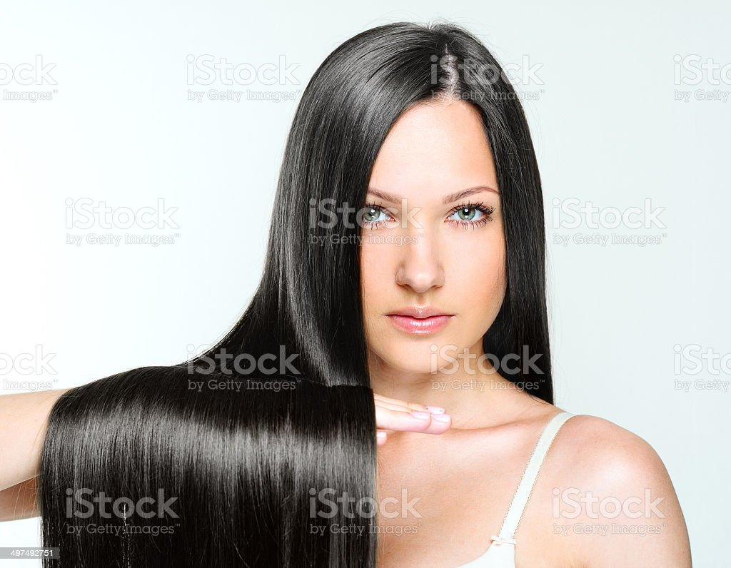Beautiful Woman with Healthy Long Hair stock photo