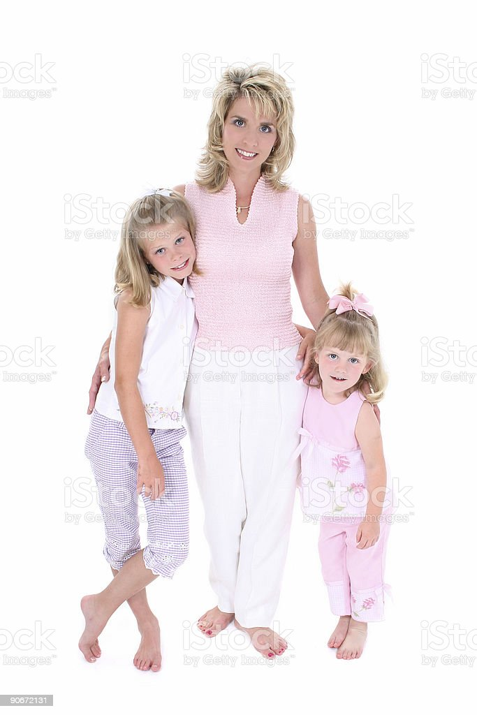 Beautiful Woman With Her Daughters Over White royalty-free stock photo