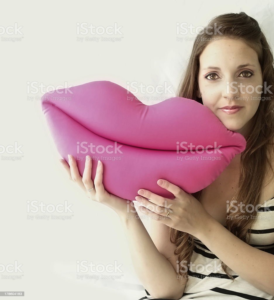 Beautiful woman with her mouth stock photo