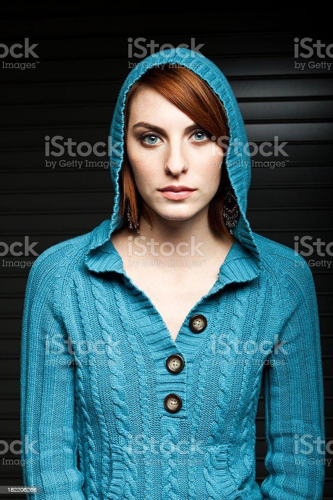 Beautiful Woman With Hood royalty-free stock photo
