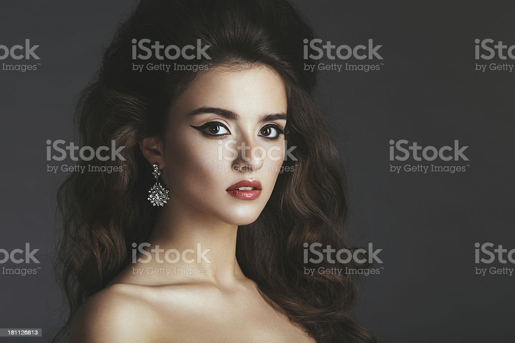 Beautiful woman with jewelry royalty-free stock photo