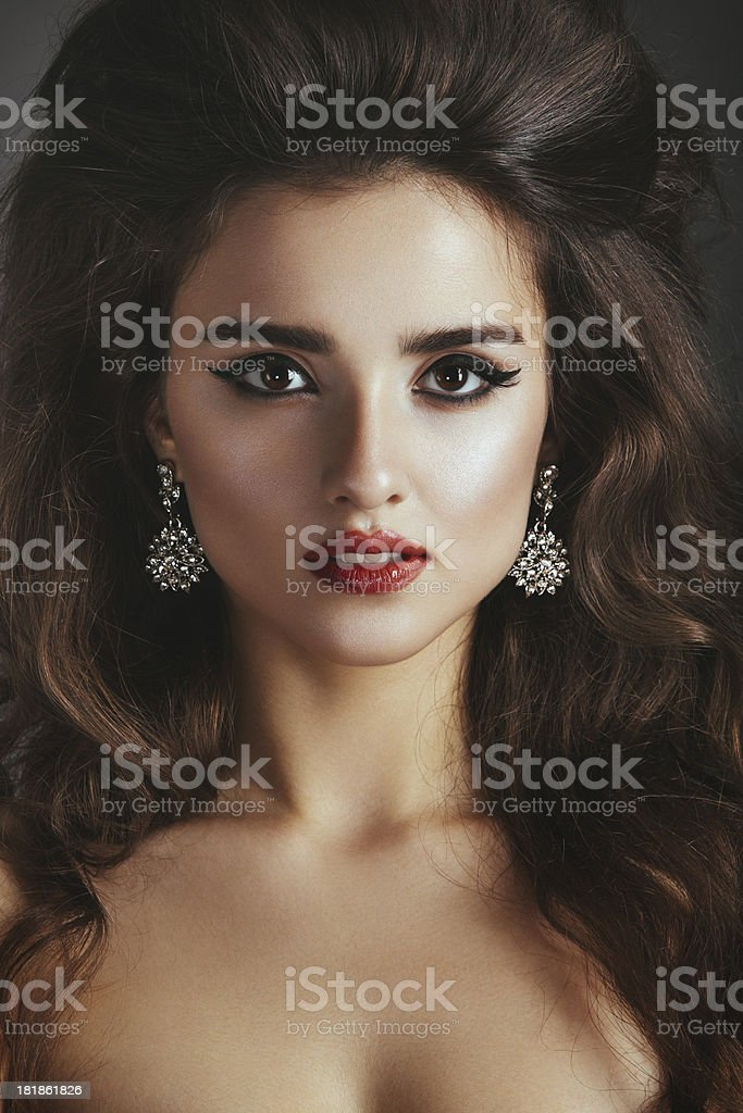Beautiful woman with jewelry stock photo