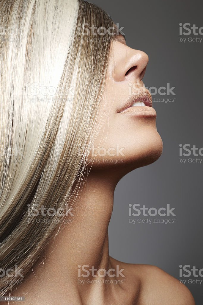 Beautiful woman with long blond hair royalty-free stock photo