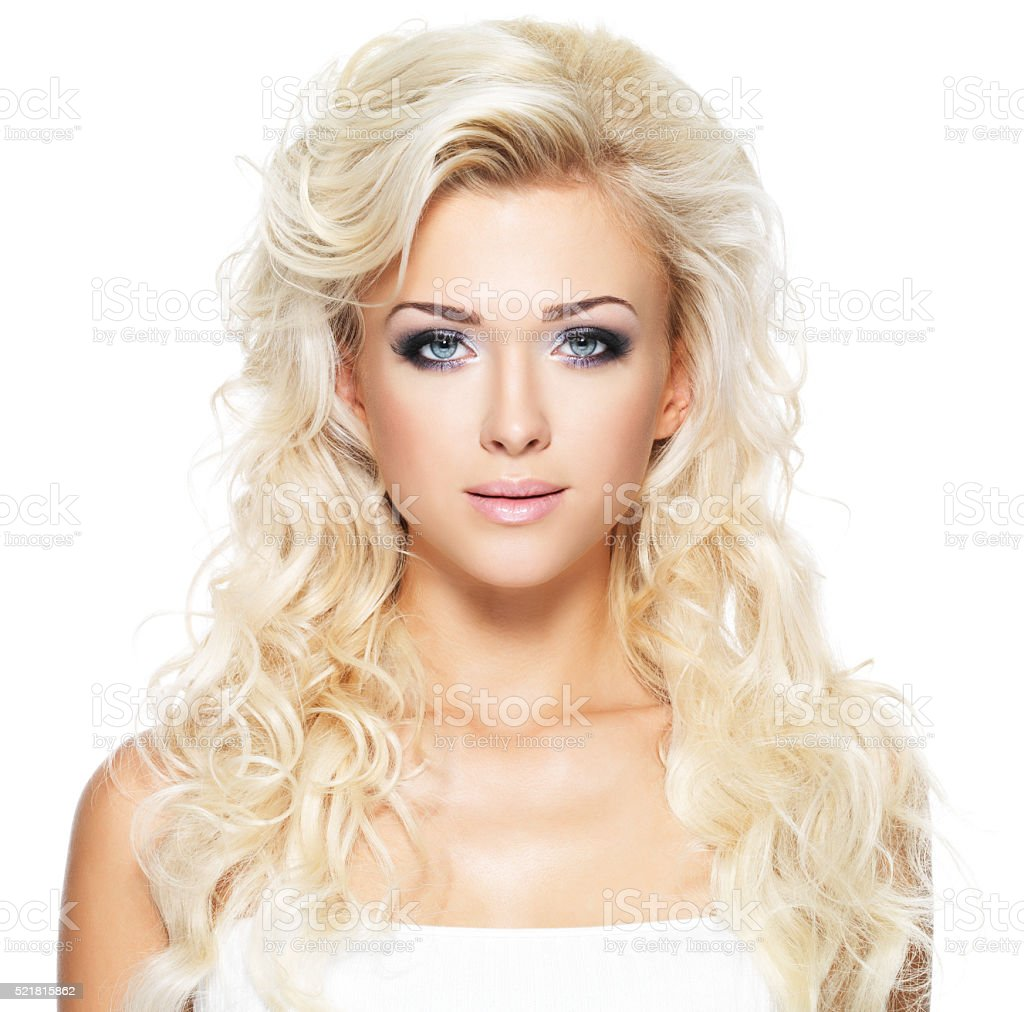 Beautiful woman with long blond hair stock photo