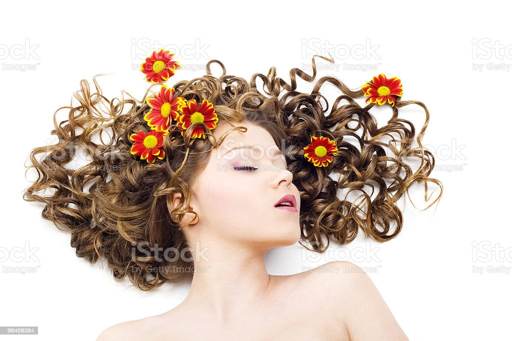 Beautiful woman with long curly hair stock photo