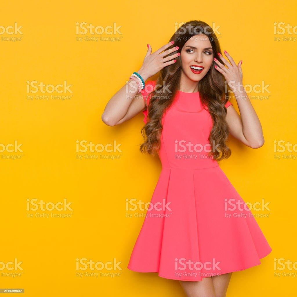 Beautiful Woman With Long Hair Looking Away stock photo