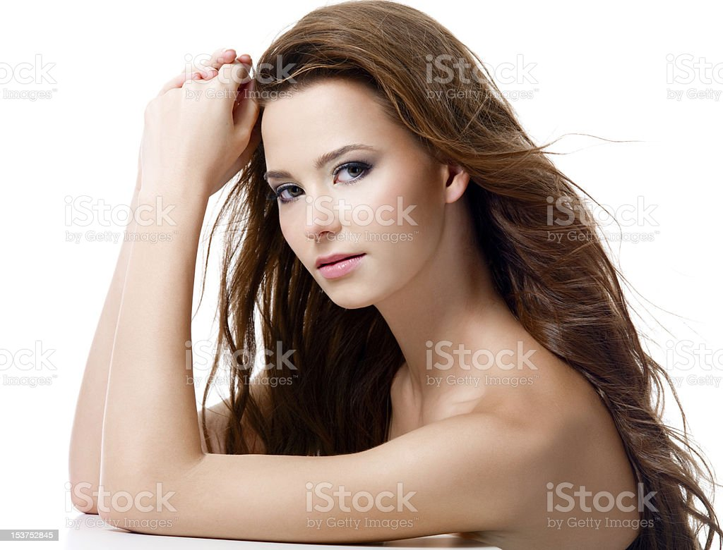Beautiful woman with long hairs royalty-free stock photo