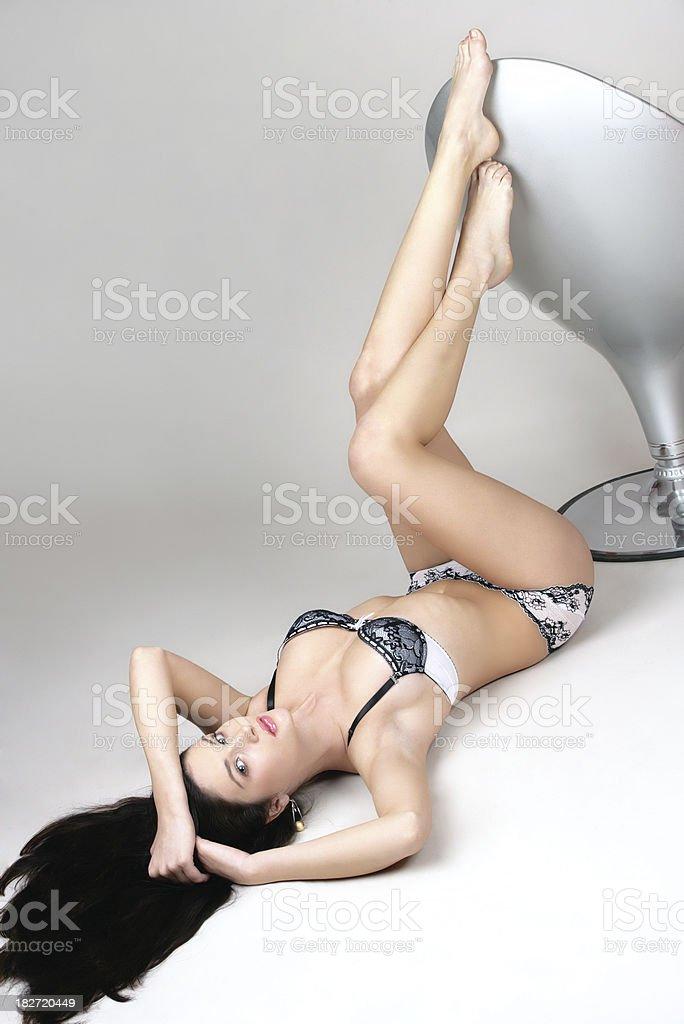 Beautiful woman with long legs stock photo