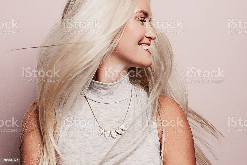 Beautiful woman with long pretty hair stock photo
