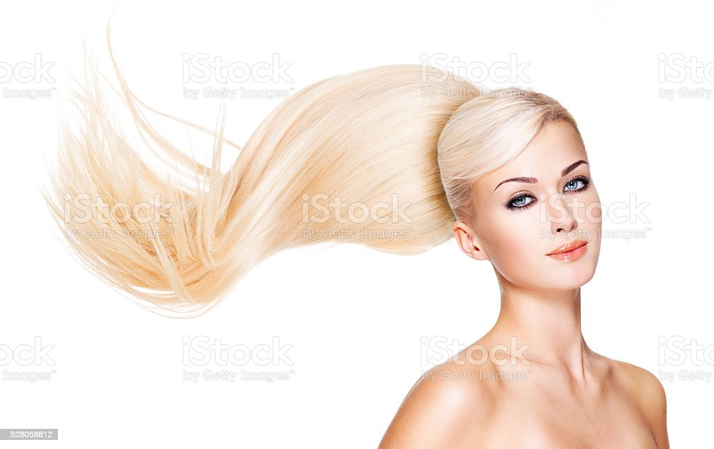 Beautiful woman with long white hair stock photo