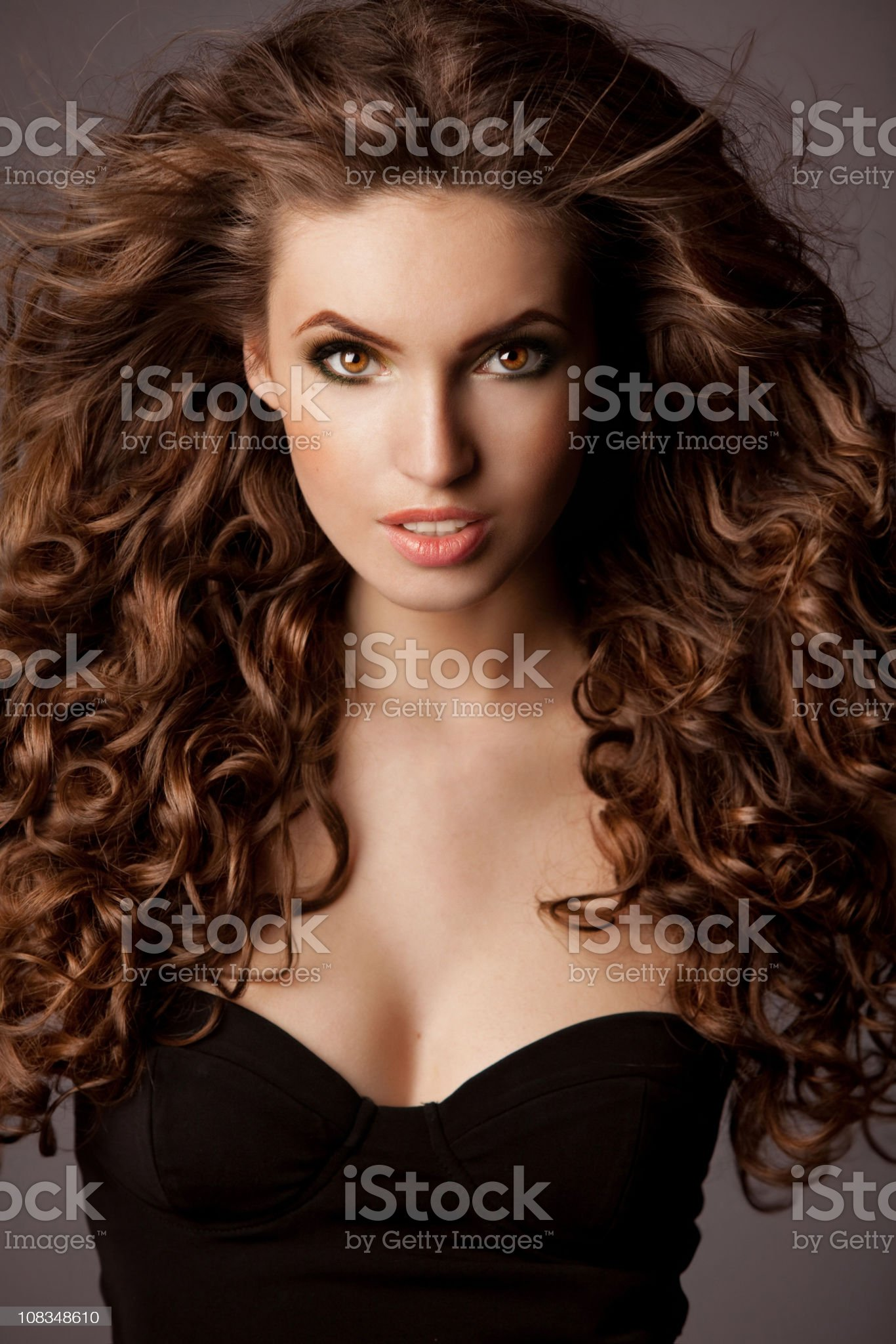 Beautiful woman with luxurious hair royalty-free stock photo