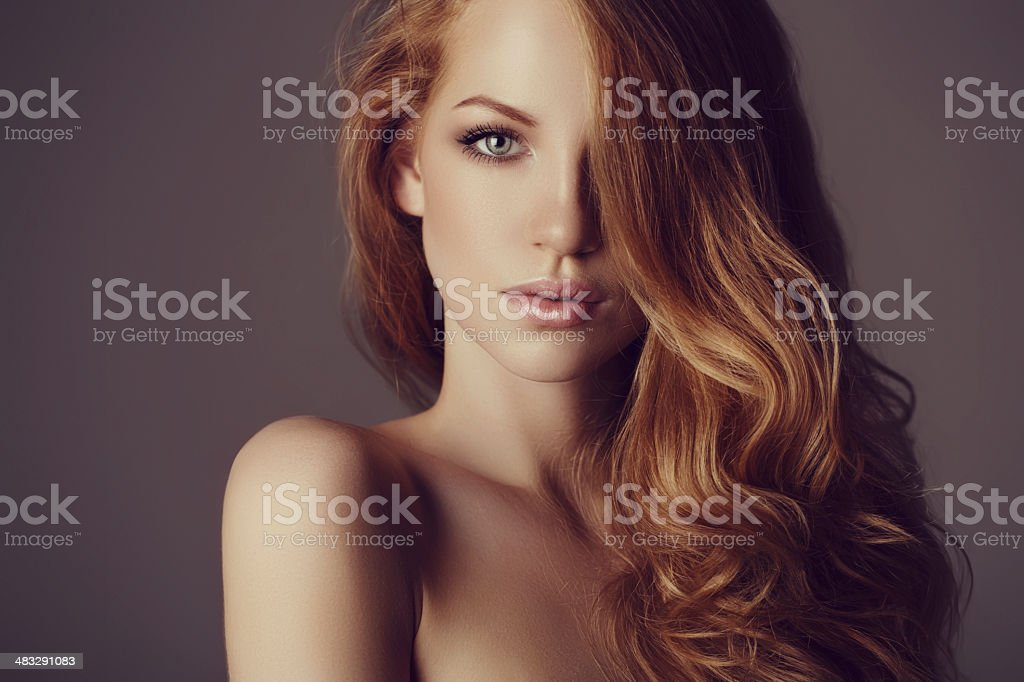 Beautiful woman with luxury hairs stock photo