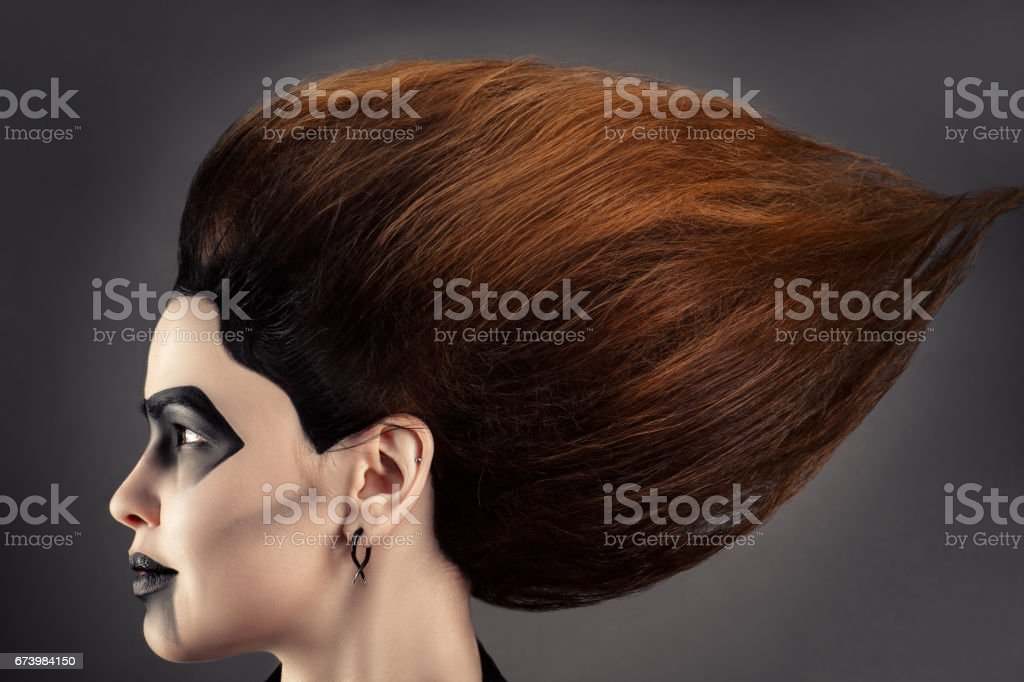 beautiful woman with magnificent hair and dark makeup in profile face stock photo