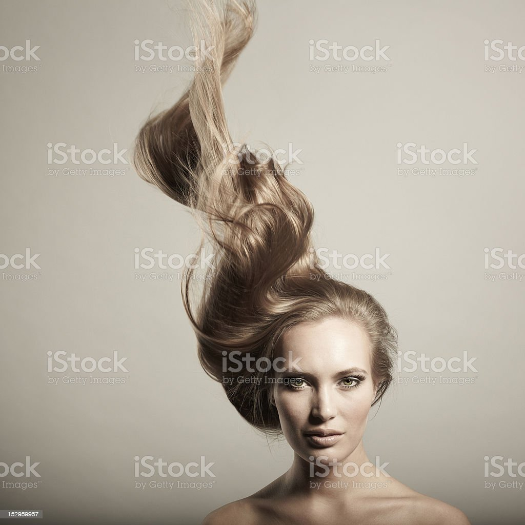 Beautiful woman with magnificent hair royalty-free stock photo