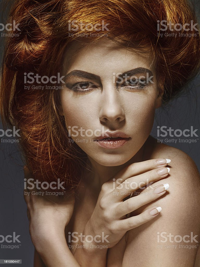Beautiful Woman With Modern Hairstyle royalty-free stock photo