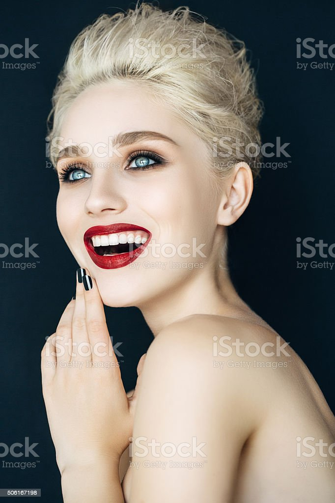 Beautiful woman with modern hairstyle stock photo