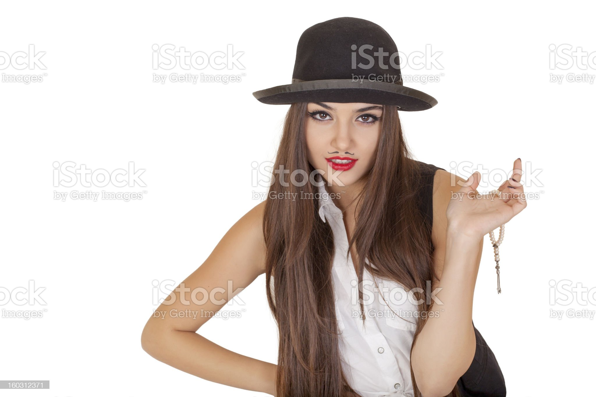 Beautiful woman with mustache royalty-free stock photo